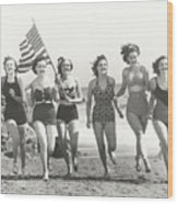 Patriotic Women At The Beach Wood Print