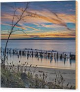 Peaceful Sunset At Sandy Hook Wood Print