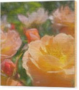 Peach Yellow Roses Wood Print