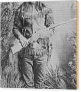 Peaches Holding Rifle Wood Print