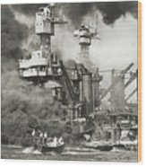 Pearl Harbor Being Attacked Wood Print