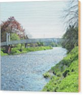 pedestrian bridge over river Tweed at Peebles Wood Print