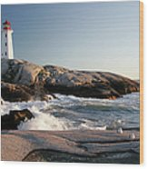 Peggys Cove Lighthouse & Waves Wood Print