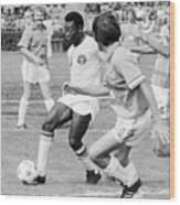 Pele Running With Soccer Ball Wood Print
