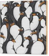 Penguins Pattern Wood Print
