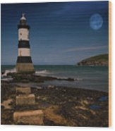 Penmon Lighthouse And Puffin Island Wood Print