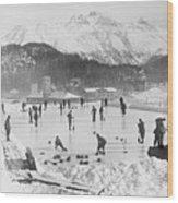 People Enjoying Curling Rink Wood Print