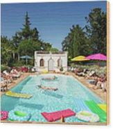 People Enjoying Summer Around The Pool Wood Print