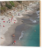 People Relax On Shell Beach Wood Print