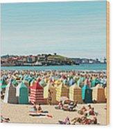 People Relaxing On Gijón Beach Wood Print