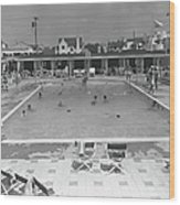 People Swimming In Pool, B&w, Elevated Wood Print