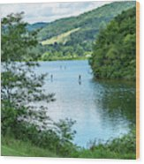 People Use Stand-up Paddleboards On Lake Habeeb At Rocky Gap Sta Wood Print