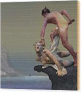 Perseus Fighting Medusa Wood Print