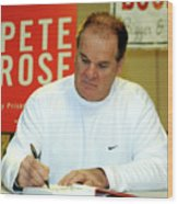 Pete Rose Signs Autobiography In New Wood Print