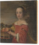 Petronella Elias       With A Basket Of Fruit  Wood Print