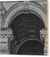 Philadelphia City Hall Fresco In Black And White Wood Print