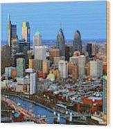 Philadelphia Skyline At Dusk 2018 Wood Print