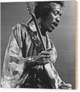 Photo Of Jimi Hendrix And Jimi Hendrix Wood Print