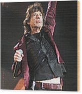 Photo Of Mick Jagger And Rolling Stones Wood Print