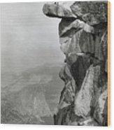 Photographer Standing On Mountain Ledge Wood Print