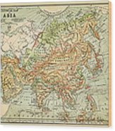 Physical Map Of Asia Wood Print