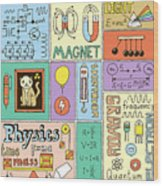 Physics Science Banners Set. Color Hand Wood Print