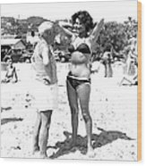 Picasso And Bikini-clad Woman On The Wood Print