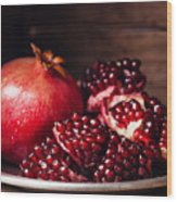 Pieces And Grains Of Ripe Pomegranate Wood Print
