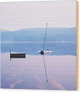 Pier On A Lake, Pleasant Lake Wood Print