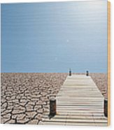 Pier Over A Dry Lake Bed Wood Print