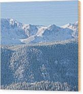 Pikes Peak In Fresh Snow Wood Print