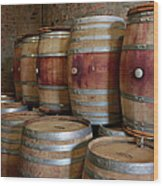 Pile Of Wooden Barrels At Winery Wood Print
