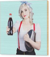 Pin-up Girl Holding Soft Drink Bottle Wood Print