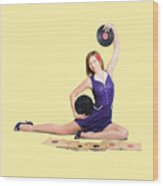 Pin-up Woman Balancing Sound With Record Music Wood Print