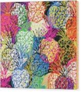 Pineapple Party- Art by Linda Woods Wood Print
