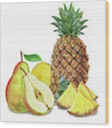 Pineapple Pear Watercolor Food Illustration  Wood Print