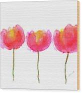 Pink Beauties Watercolor Painting Wood Print