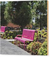 Pink Chairs At Grand Park Wood Print
