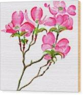 Pink Dogwood Vertical Design Wood Print