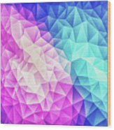 Pink Ice Blue  Abstract Polygon Crystal Cubism Low Poly Triangle Design Wood Print
