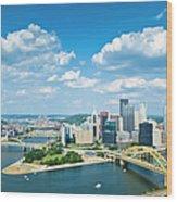 Pittsburgh, Pennsylvania Skyline With Wood Print