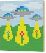 Pixel Vector Landscape With Ufo Wood Print