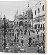 Place, San Marco Place At Venise In Wood Print