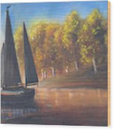Plain Sailing, Boat Painting Wood Print