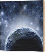 Planet Earth And Stars Wood Print