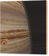 Planet Jupiter And A Distant Moon Wood Print