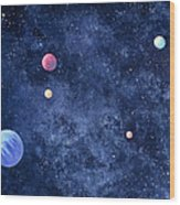 Planets In Solar System Wood Print