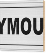 Plymouth City Nameplate Wood Print