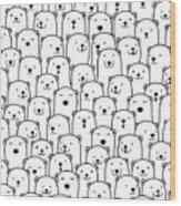 Polar Bear Vector Seamless Pattern Wood Print