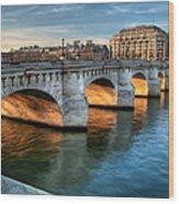 Pont-neuf And Samaritaine, Paris, France Wood Print